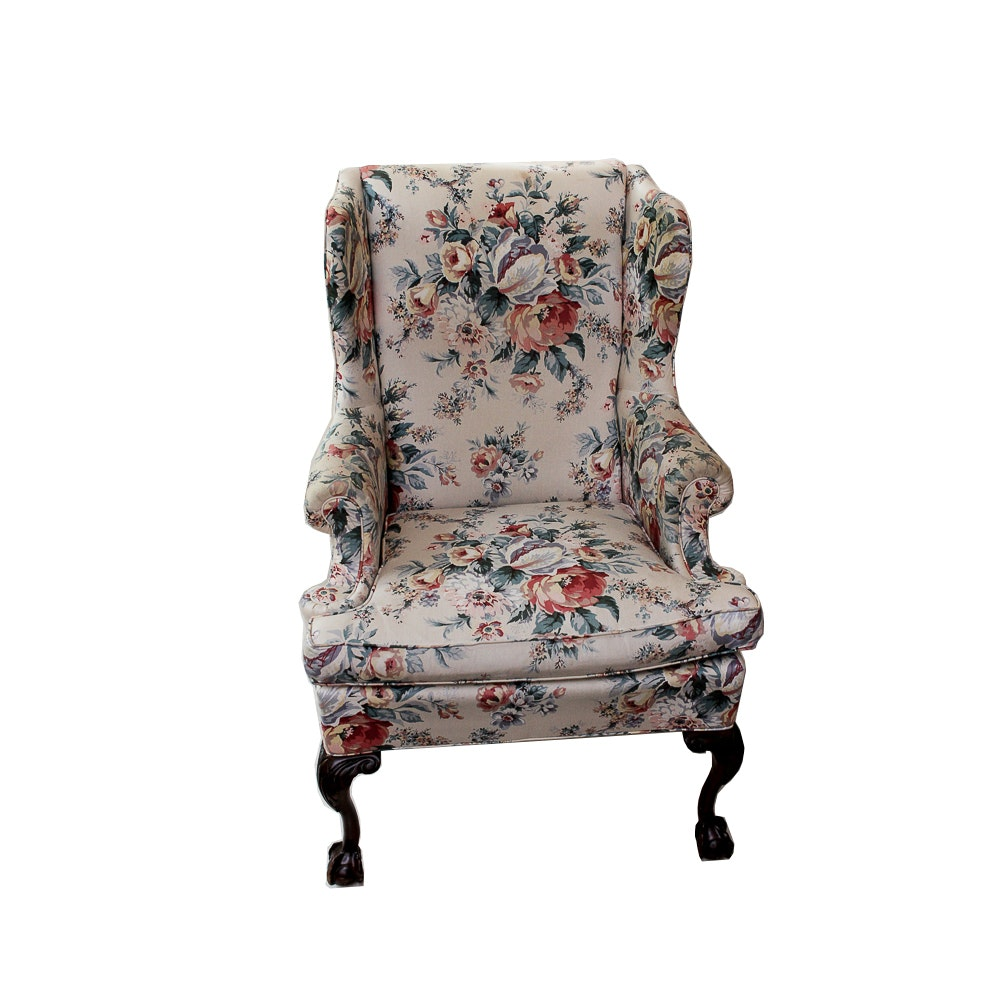 1960s Floral Print Wingback Chair ...