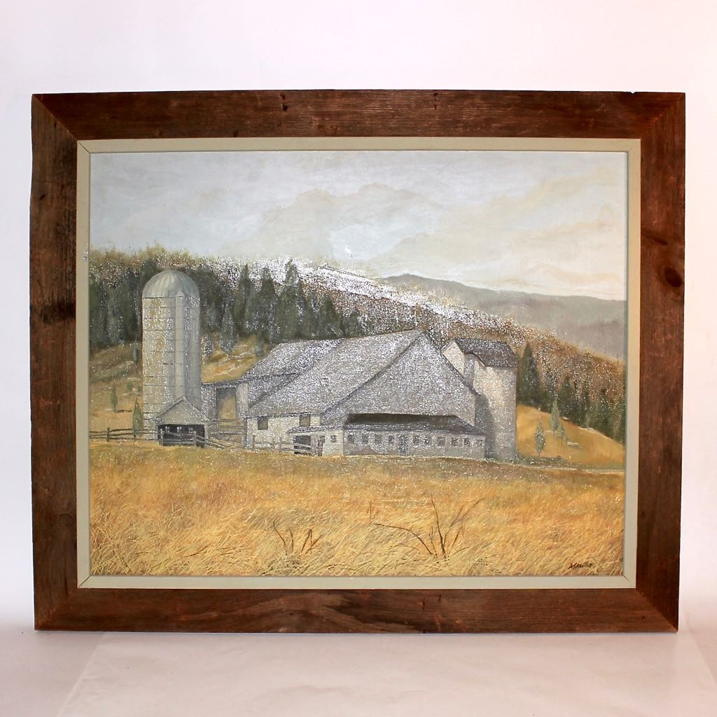"Original Oil Titled ""Hubeny's Barn"" with Barn Wood Frame"