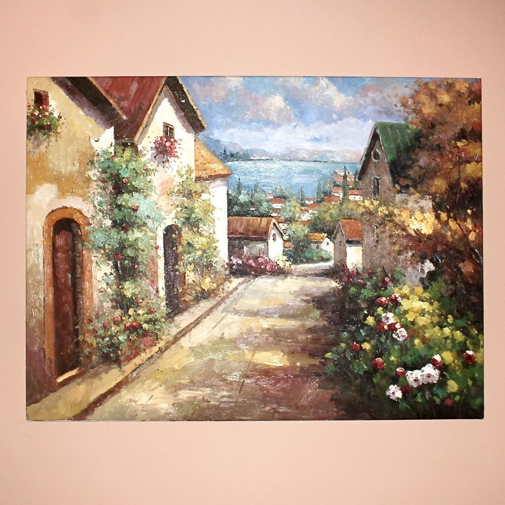 Large Sofa Size Giclee of a Village Garden Streetscape