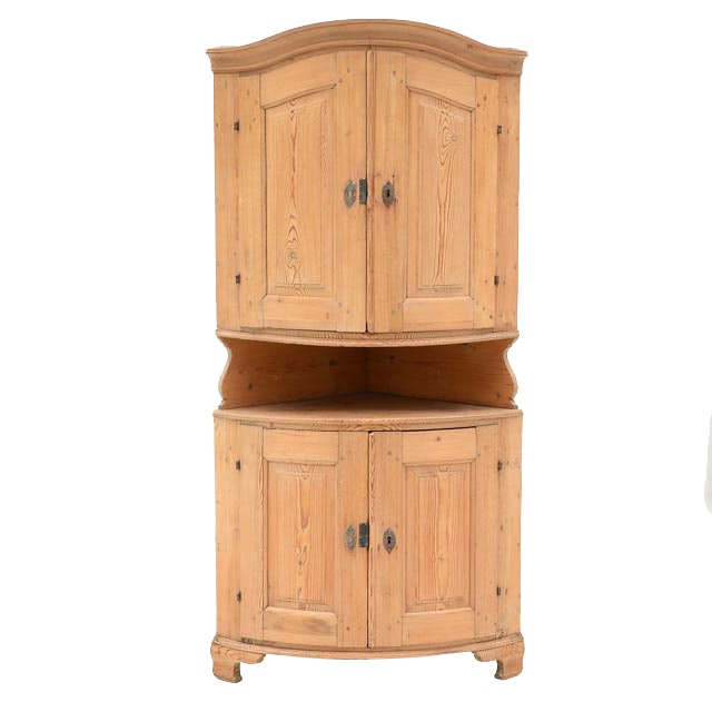 Antique Pine Two Piece Corner Cabinet