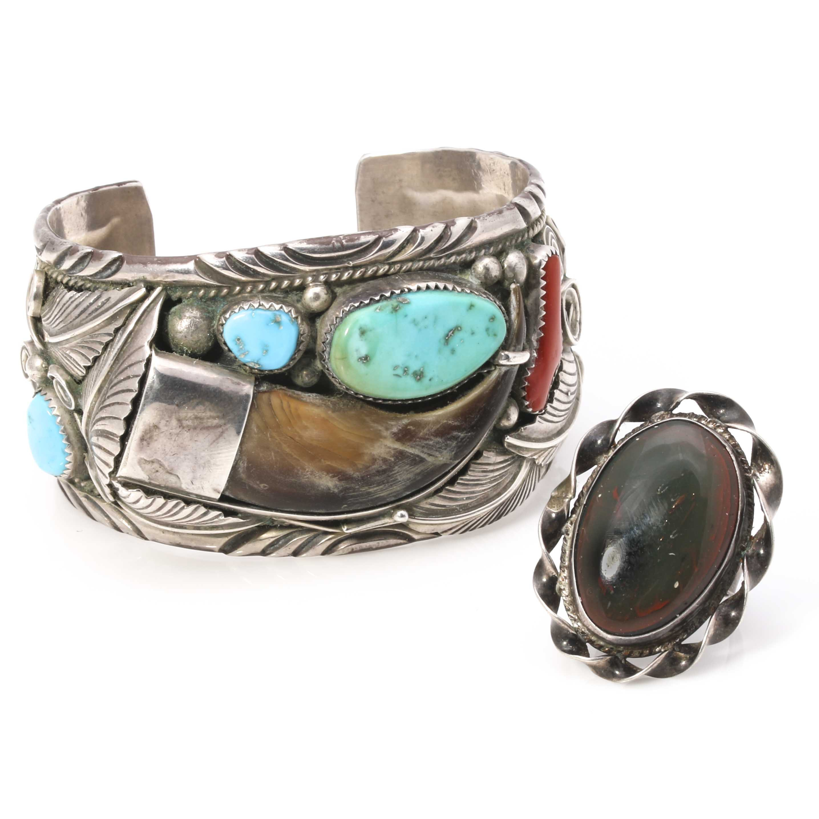 Native American Style Sterling Silver Cuff and Ring