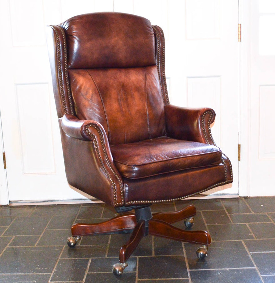 Executive Leather Wingback Office Chair : EBTH