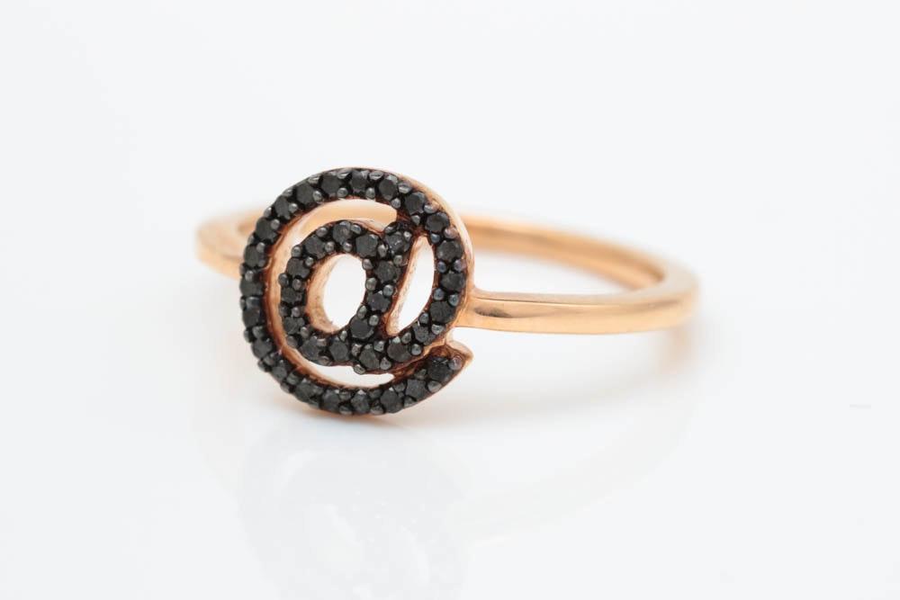 "0.20 CTW Black Diamond and 18K Rose Gold ""@"" Ring"