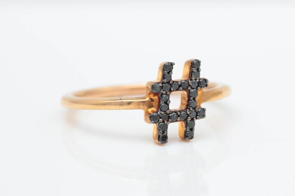 "14K Rose Gold and Black Diamond ""#"" Ring"