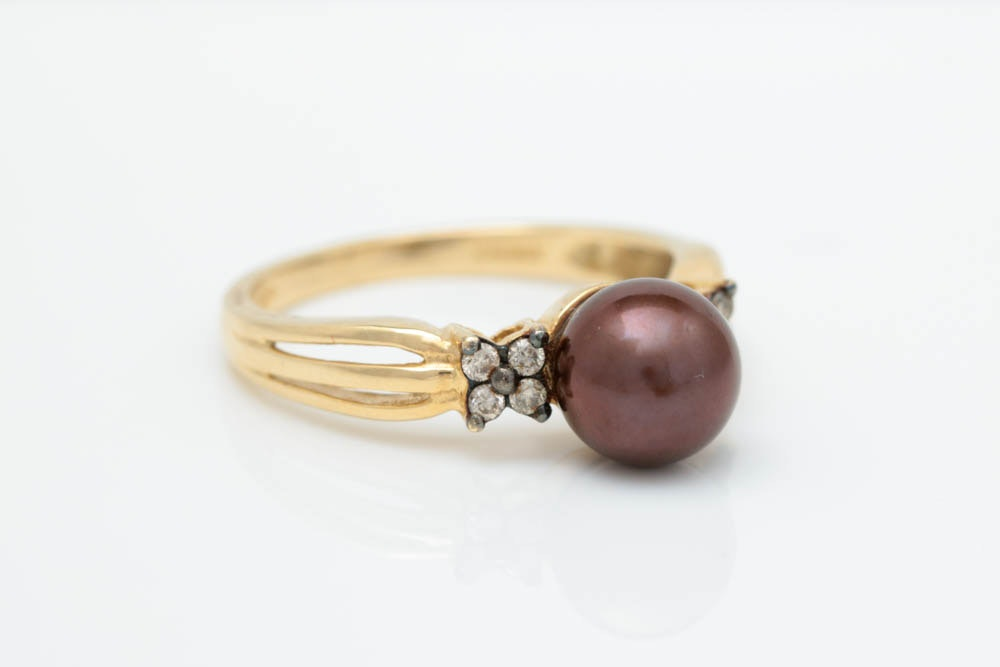 14K Yellow Gold, Chocolate Freshwater Pearl and Diamond Ring