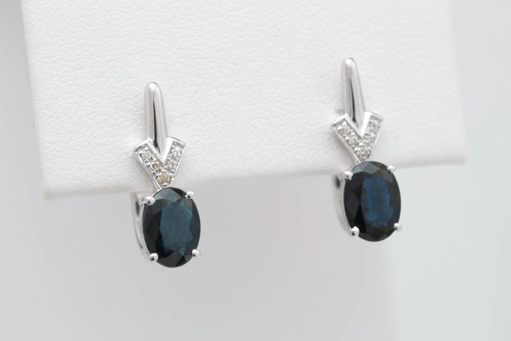 1.90 CTW Blue Sapphire, Diamond and 14K White Gold Earrings