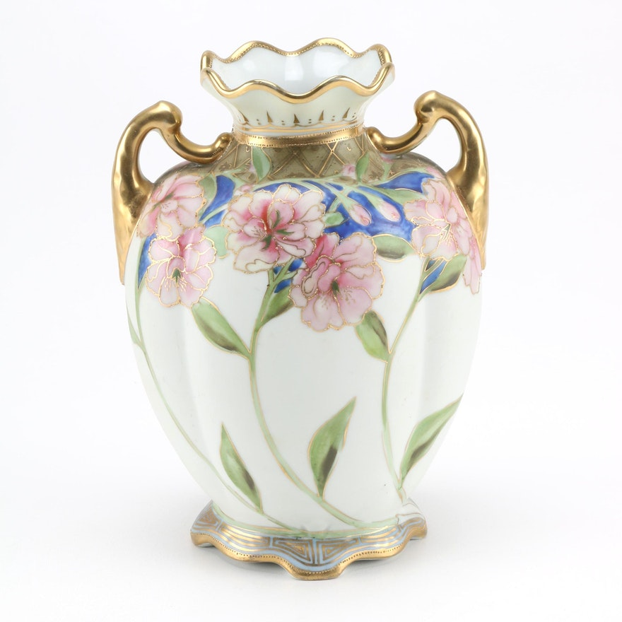 Nippon Porcelain Vase With Pink Carnations And Gold Tone Detail Ebth