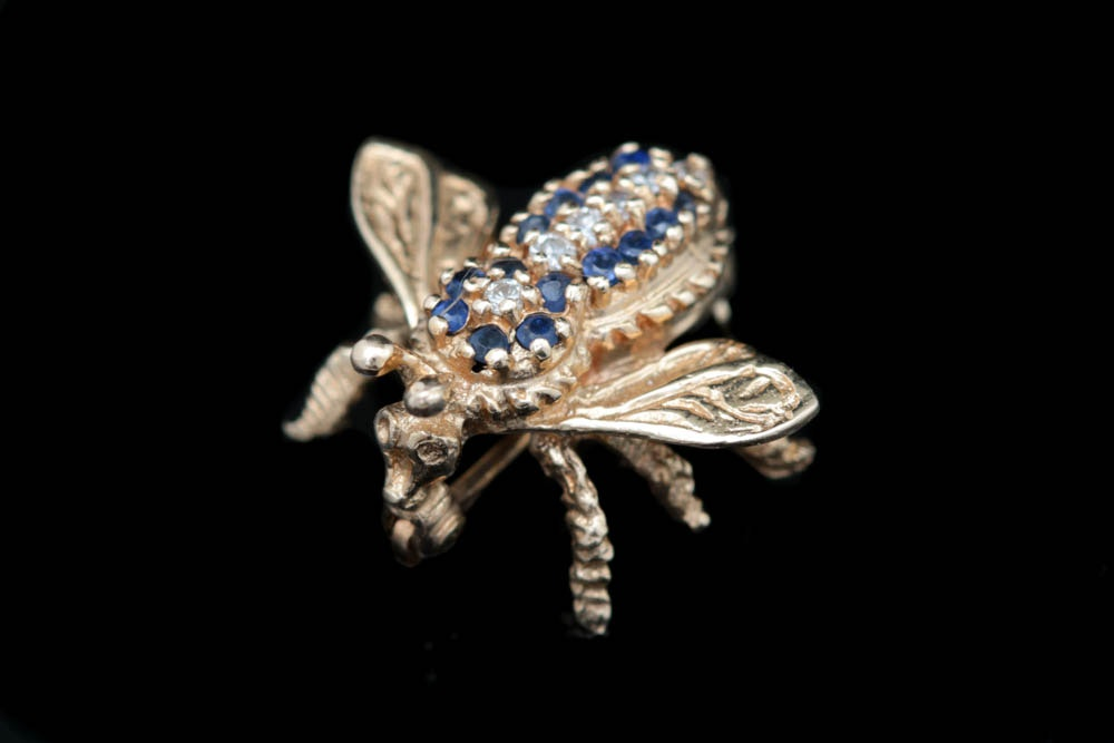 14K Yellow Gold, Blue Sapphire and CZ Fly Pin