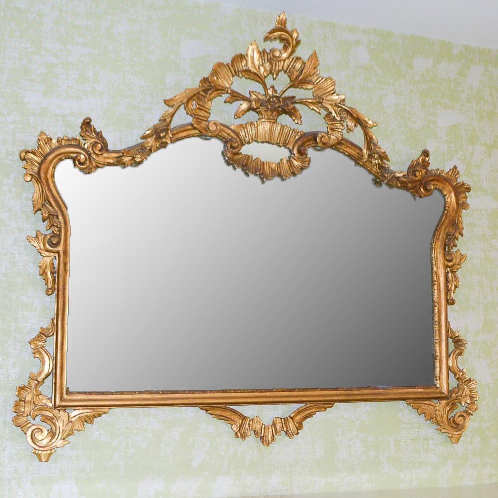 Ornate Carved Gilt Rectangular Wall Mirror