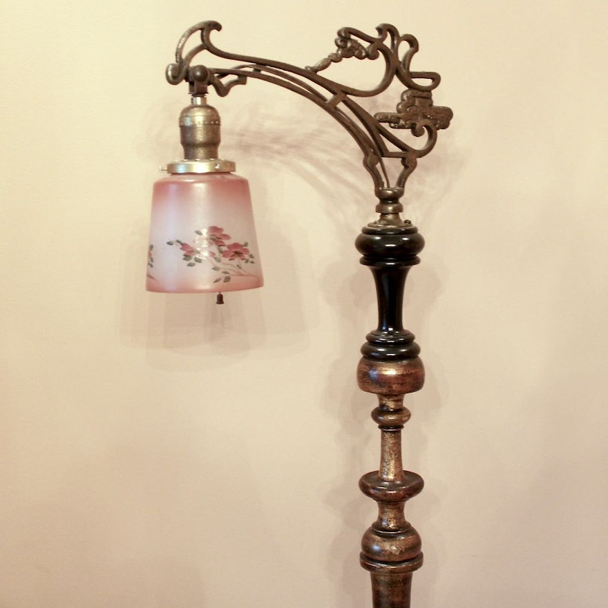 Antique Bridge Floor Lamp With Hand Painted Rose Gl Shade