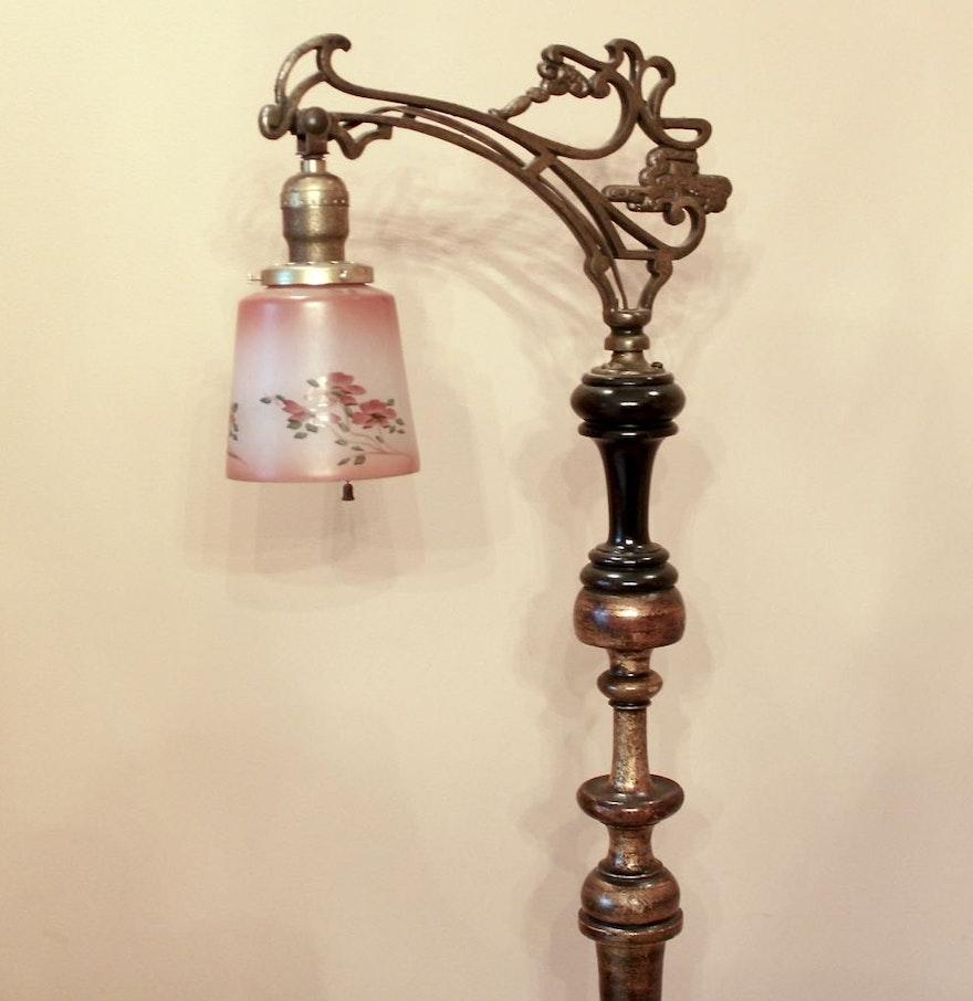 Antique Bridge Floor Lamp with Hand Painted Rose Glass Shade : EBTH:Antique Bridge Floor Lamp with Hand Painted Rose Glass Shade ...,Lighting