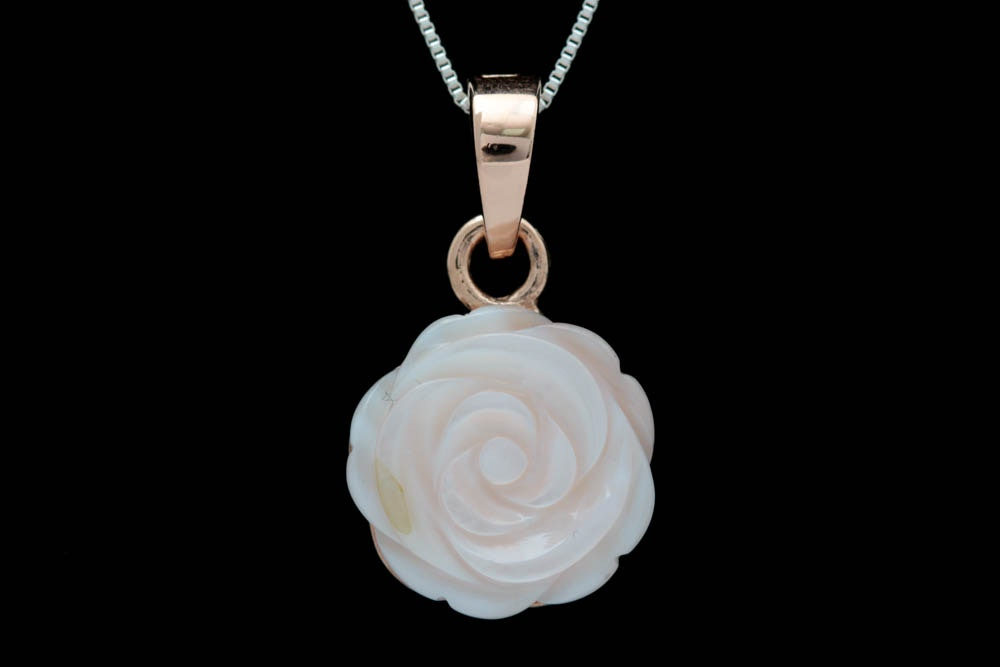 Vermeil and Carved Pink Mother of Pearl Flower Pendant with Chain