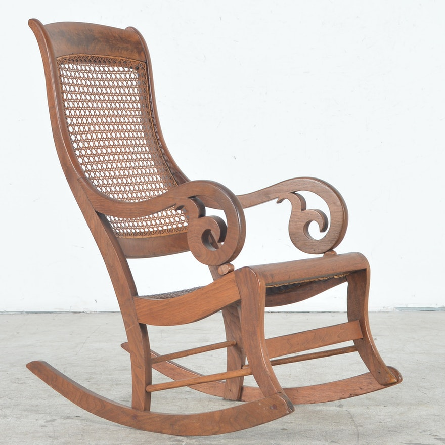 Antique Rocking Chair with Cane Seat and Back ... - Antique Rocking Chair With Cane Seat And Back : EBTH