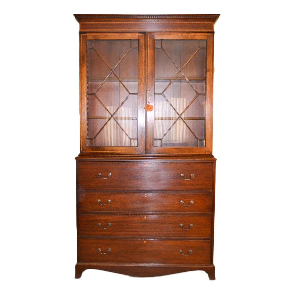Antique Mahogany Secretary With Bookcase