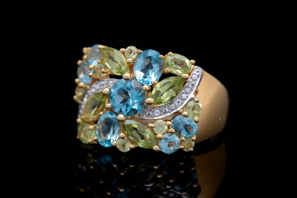 Vermeil, Peridot and Multi-Colored Topaz Ring