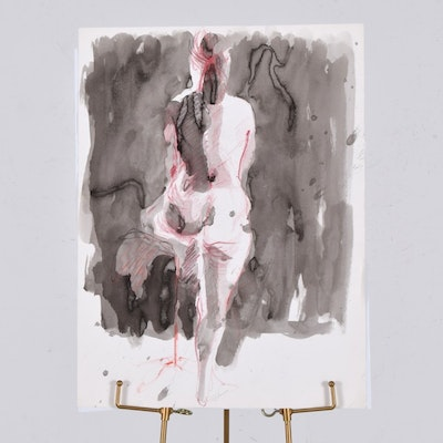 Original Tuska Female Nude Multimedia Painting