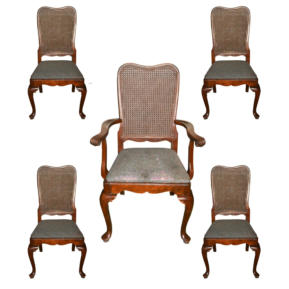 Set of Vintage Queen Anne Style Caned Dining Chairs