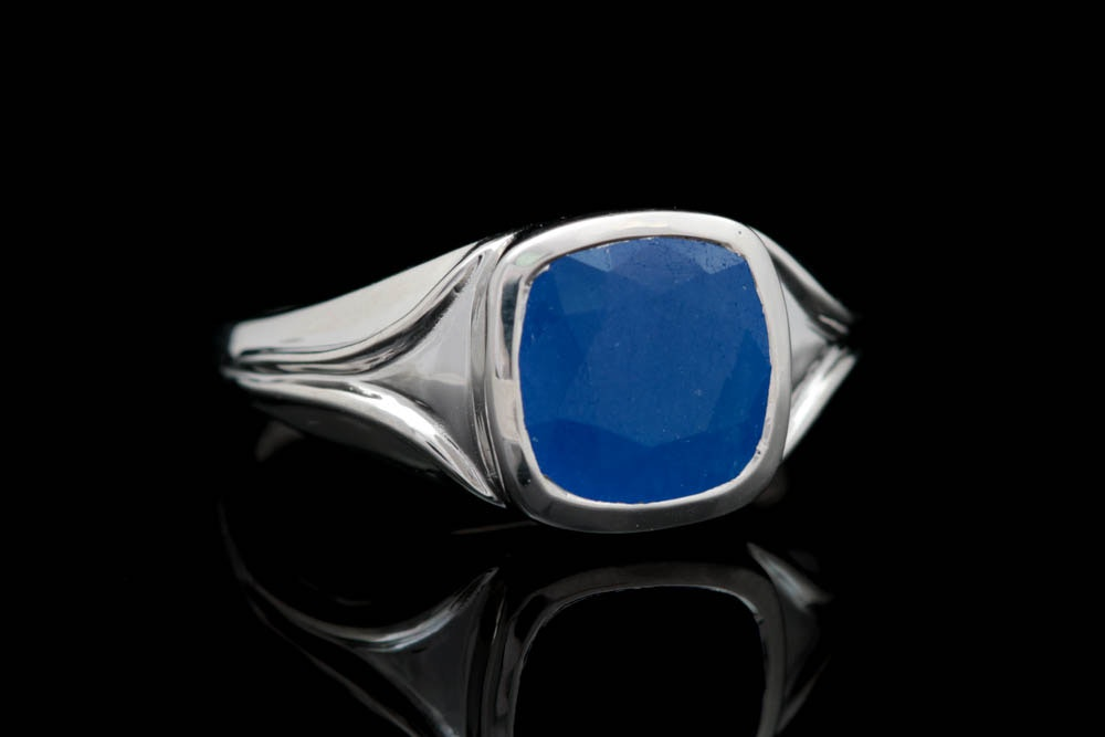 Sterling Silver and Blue Jade Ring