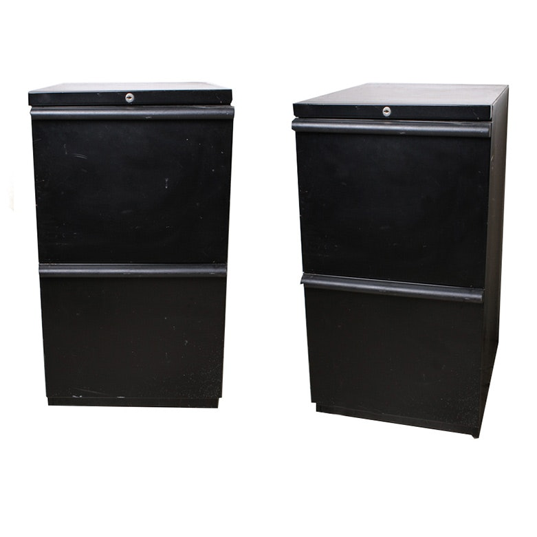 Pair Of Black Metal Filing Cabinets ...
