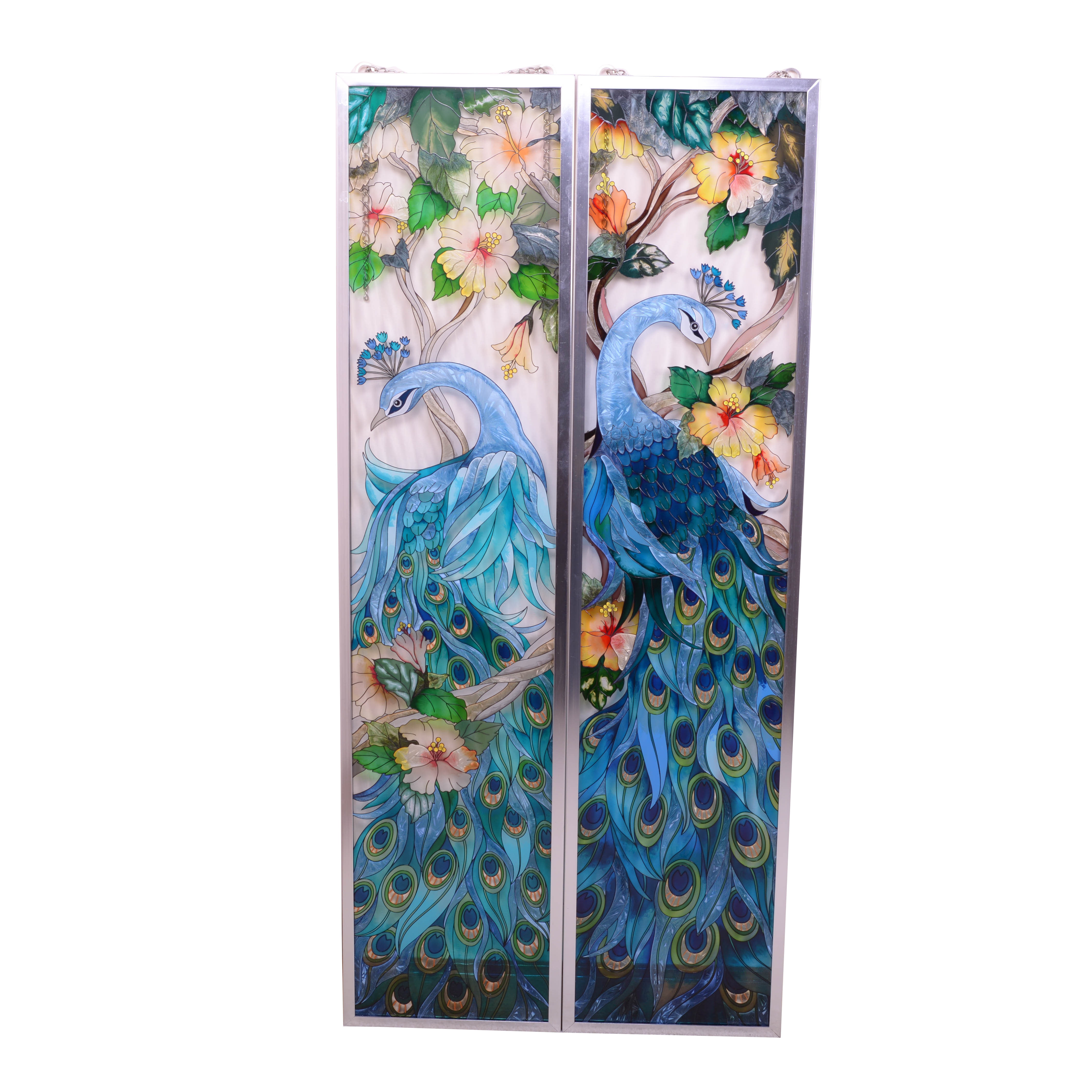 Decorative Peacock Adorned Painted Glass Panels