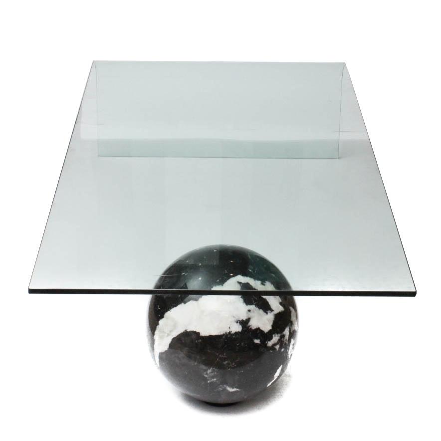 custom made curved glass and black italian marble coffee table ebth