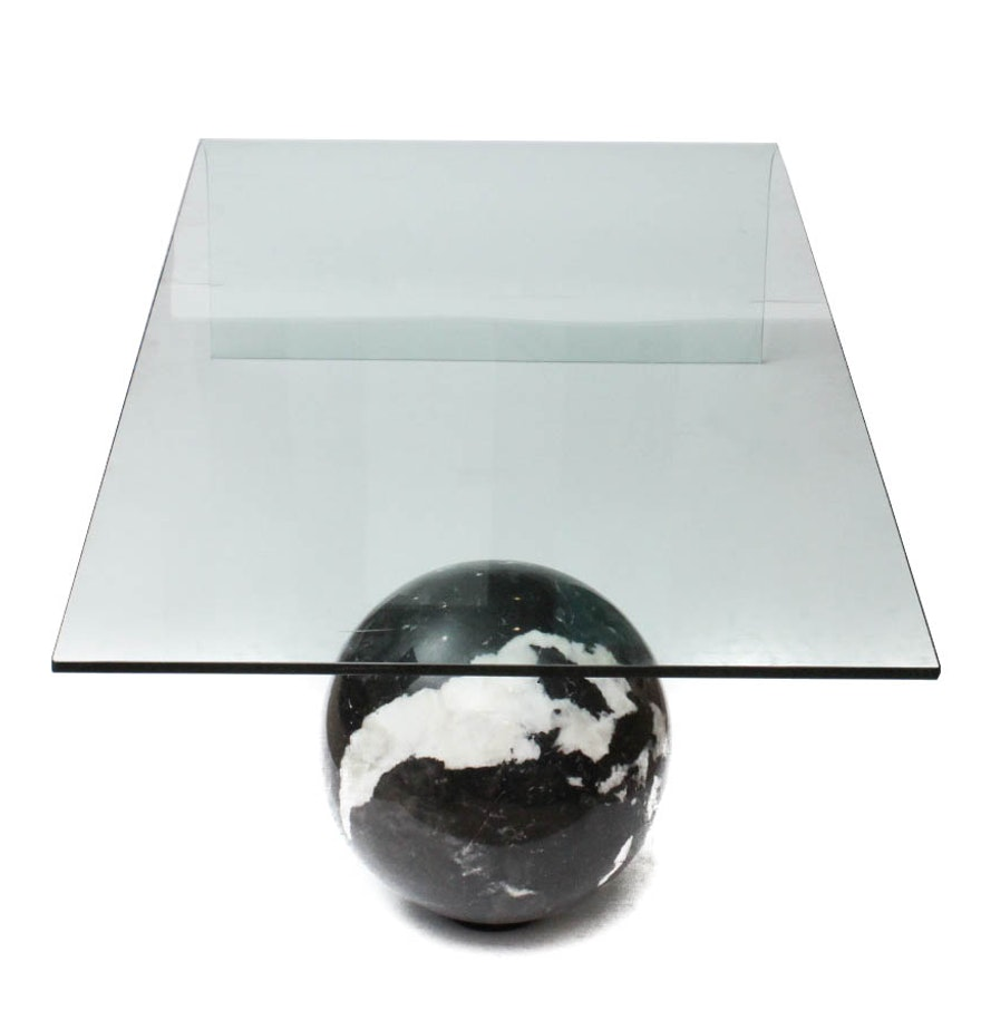 Italian Coffee Tables Marble Custom Made Curved Glass And Black Italian Marble Coffee Table Ebth