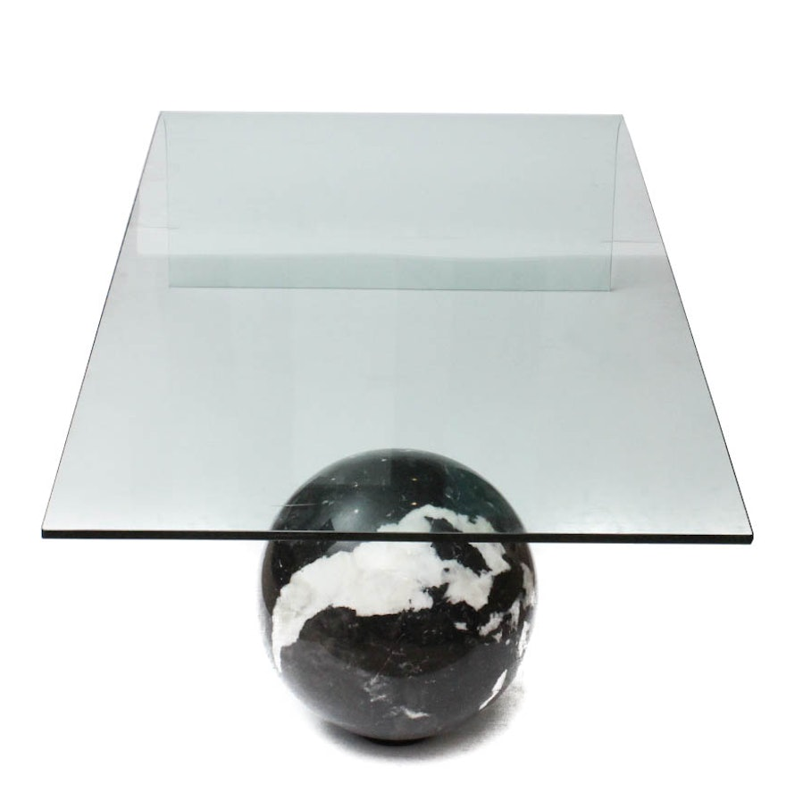 Custom Made Curved Glass And Black Italian Marble Coffee Table Ebth