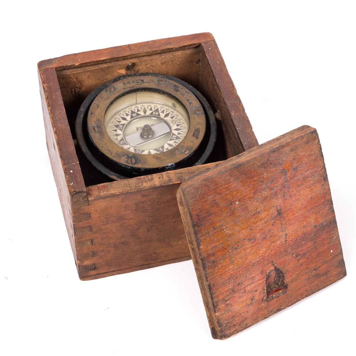 Antique Perko Navigation Lights Vintage Authentic Naval: Vintage Perko Nautical Compass