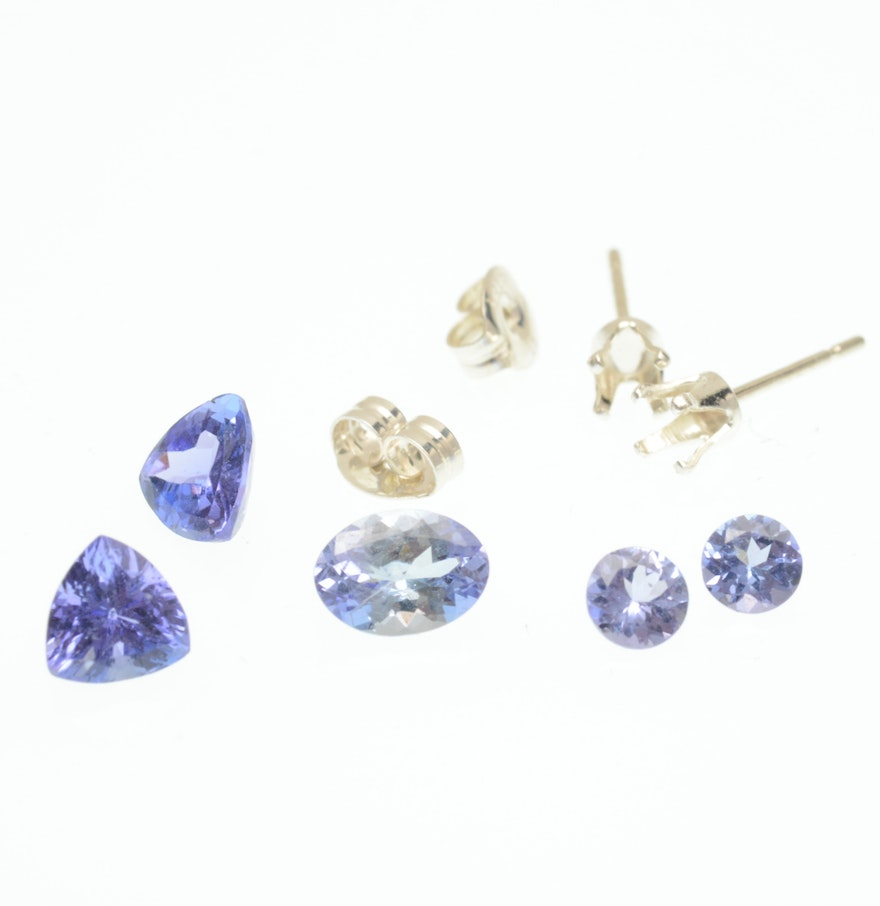 Five 307 Ctw Loose Tanzanite Gemstones With Sterling Silver Earring Mounts