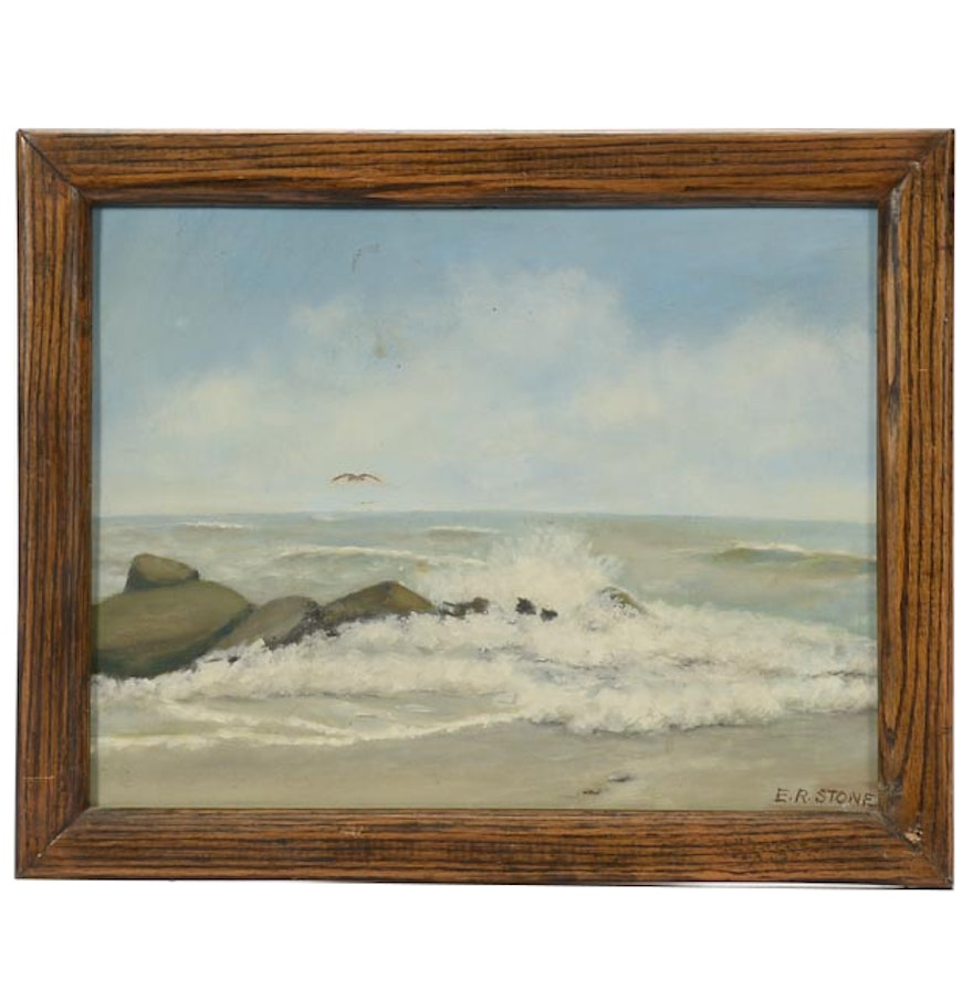 E.R. Stone Original Vintage Oil Painting on Board ...