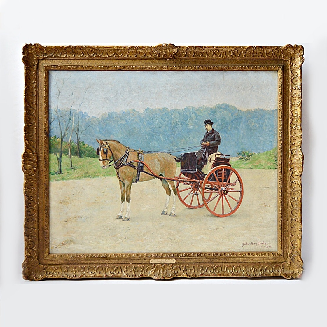 "Gustave Mosler Oil on Canvas Titled ""Horse, Buggy & Master 1887"""