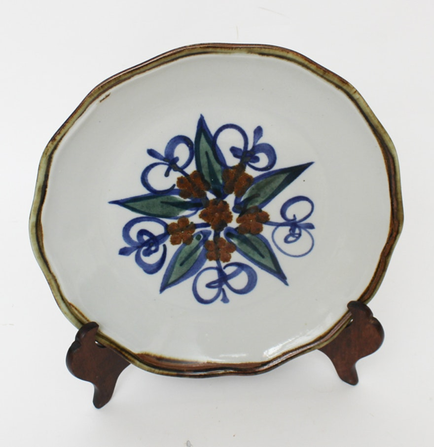 Hand Thrown And Decorated Stoneware Plate Ebth