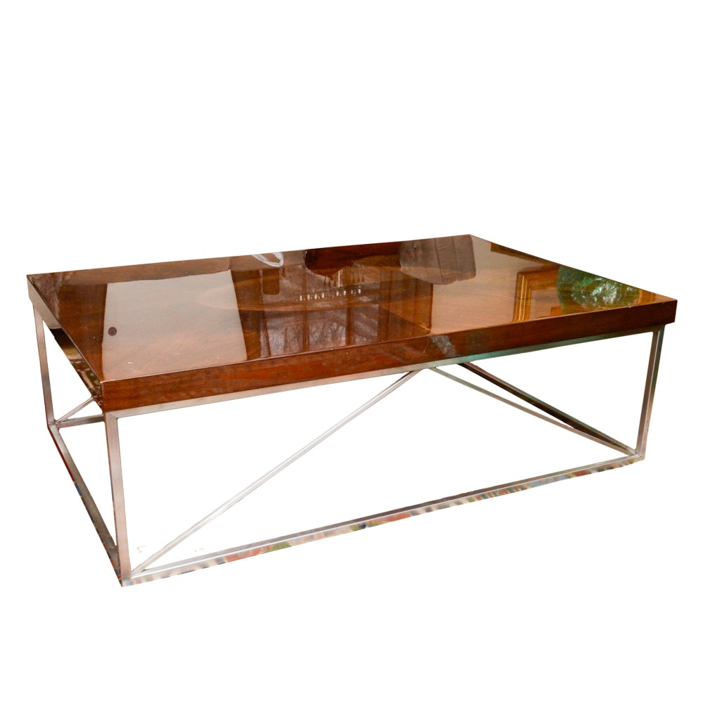 Contemporary Wooden Coffee Table With Metal Base