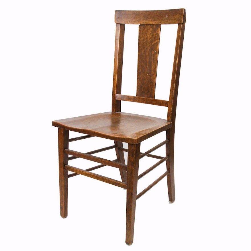 Early 20th Century Oak Side Chair By Peck Amp Hills Of