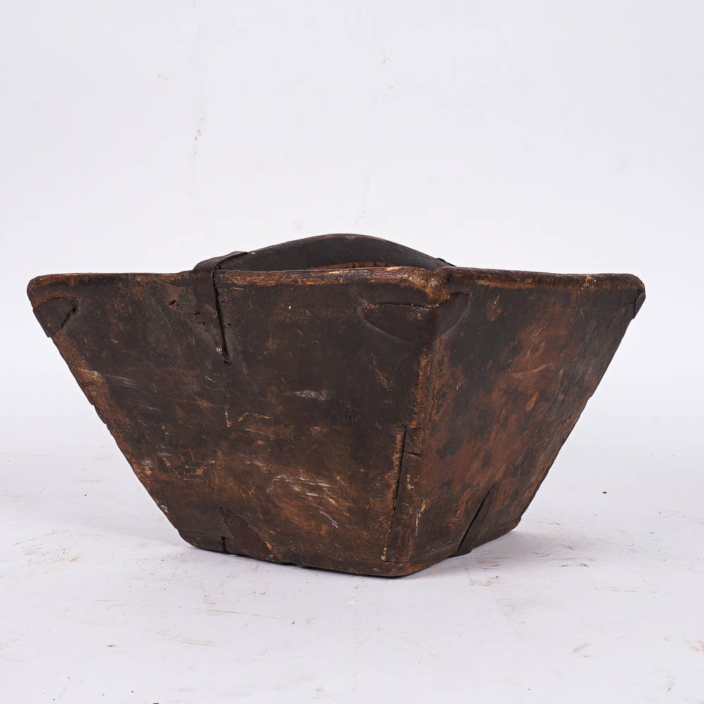 Antique Chinese Hand Crafted Wooden Rice Bucket