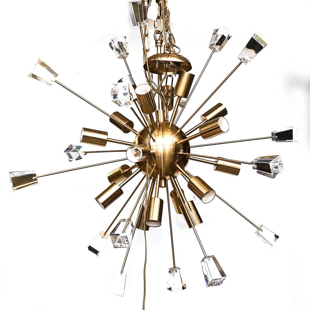Starburst Brass Chandelier with Glass Prisms
