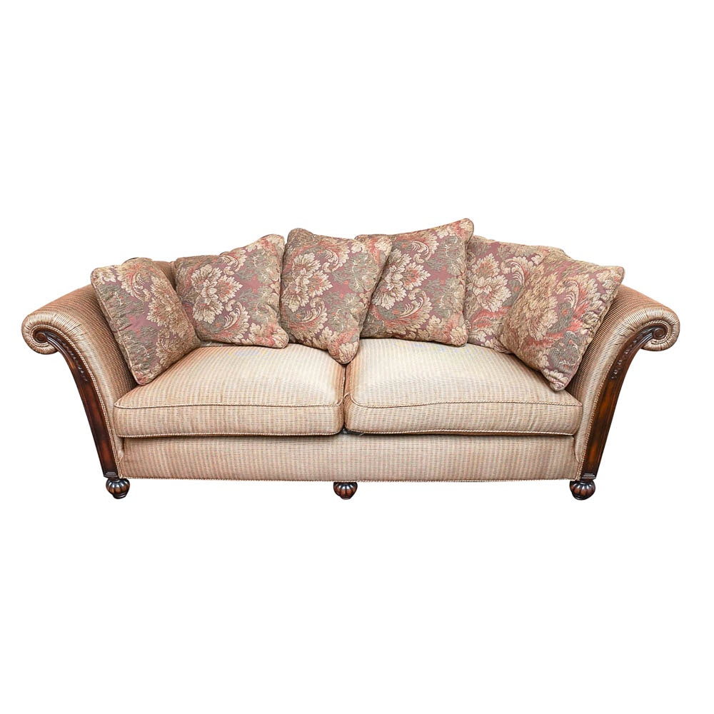 Wood Frame Upholstered Sofa with Accent Pillows