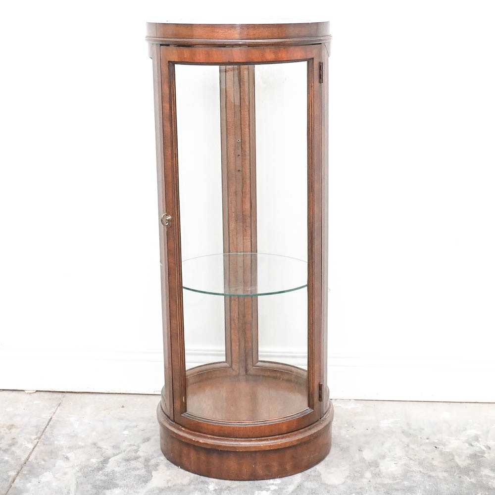 Round Wood And Glass Display Cabinet
