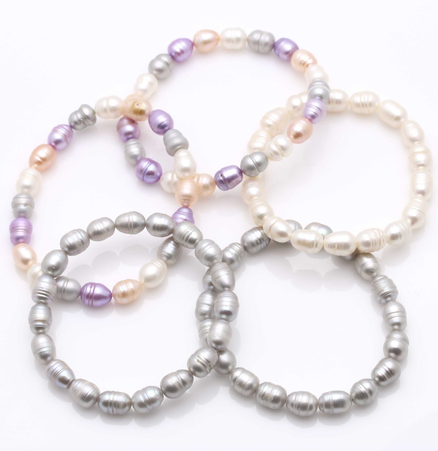 Cultured Freshwater Pearl Stretch Bracelets