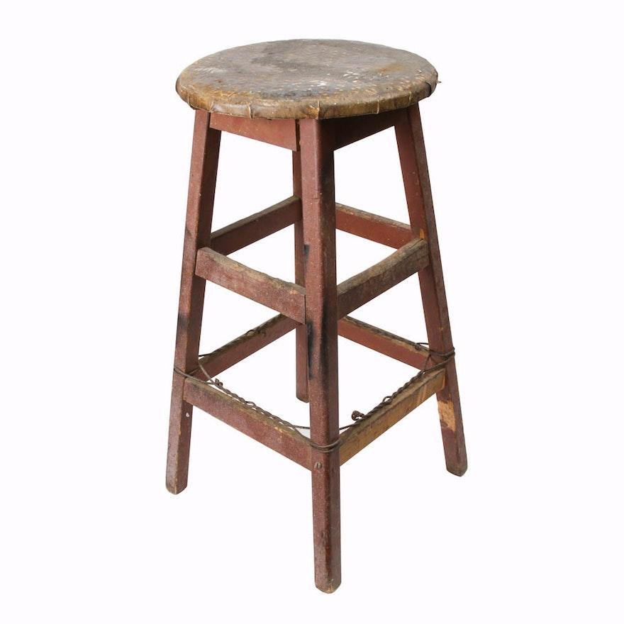Swell Vintage Stool With Leather Top Inzonedesignstudio Interior Chair Design Inzonedesignstudiocom