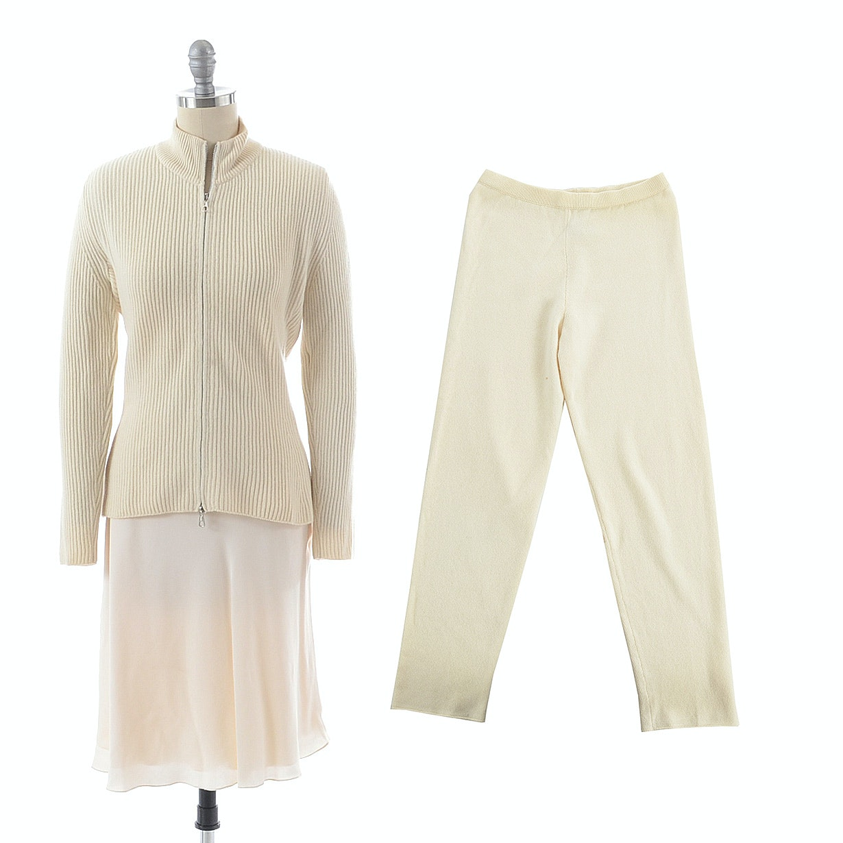Trillion Brand Cashmere Zipper Front Cardigan Sweater Paired with Calvin Klein Silk Chiffon Skirt in Ivory