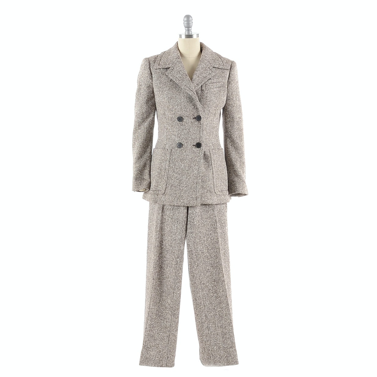 Samsonite Brown and Ivory Tweed Silk/Wool Blend Suit