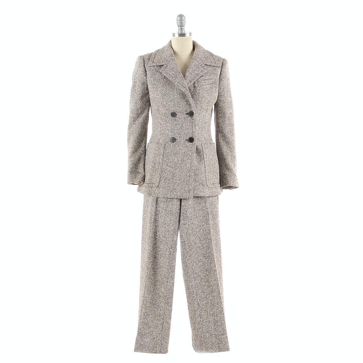 Samsonite Brown and Ivory Tweed Silk/Wool Blend Suit