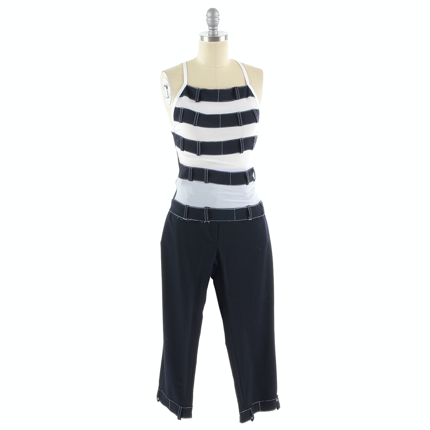 JIKI Jeans Sleeveless Top and Crop Pants in Navy Blue and White