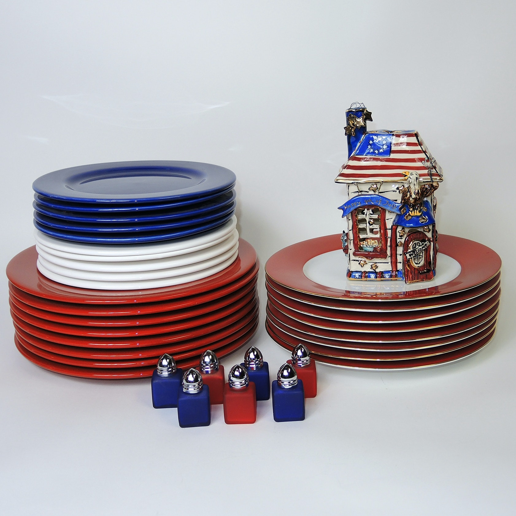Waechtersbach Red, White and Blue Plates and 4th of July Decor