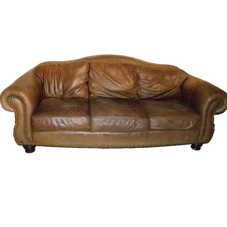 Thomasville Brown Leather Sofa Ebth