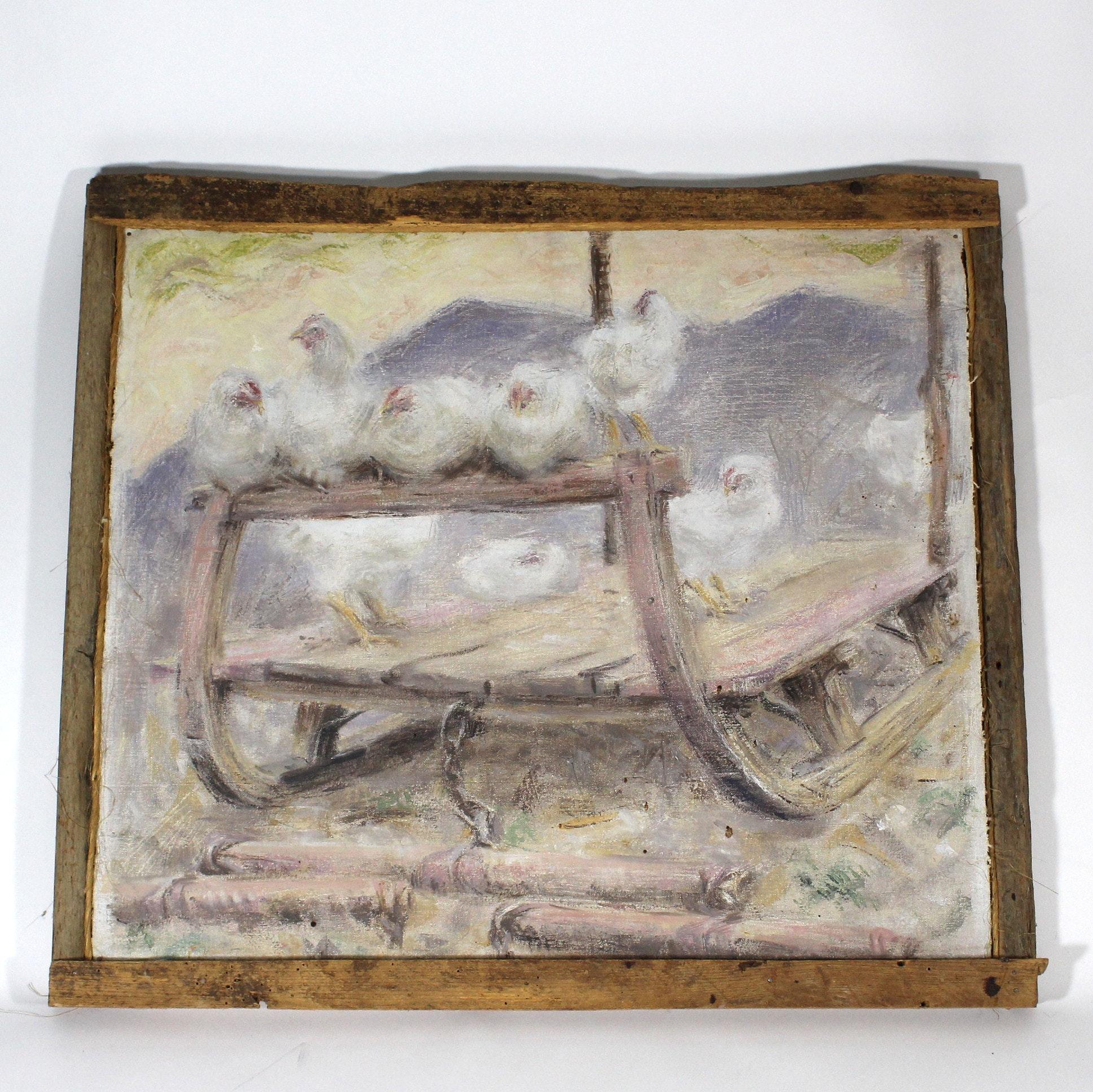 """Harlan Hubbard """"Barnyard Siesta"""" Original Oil Painting"""