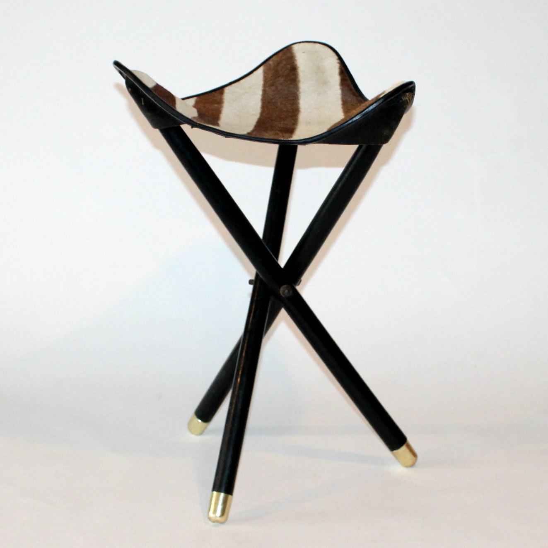 Vintage Zebra Hide Stool