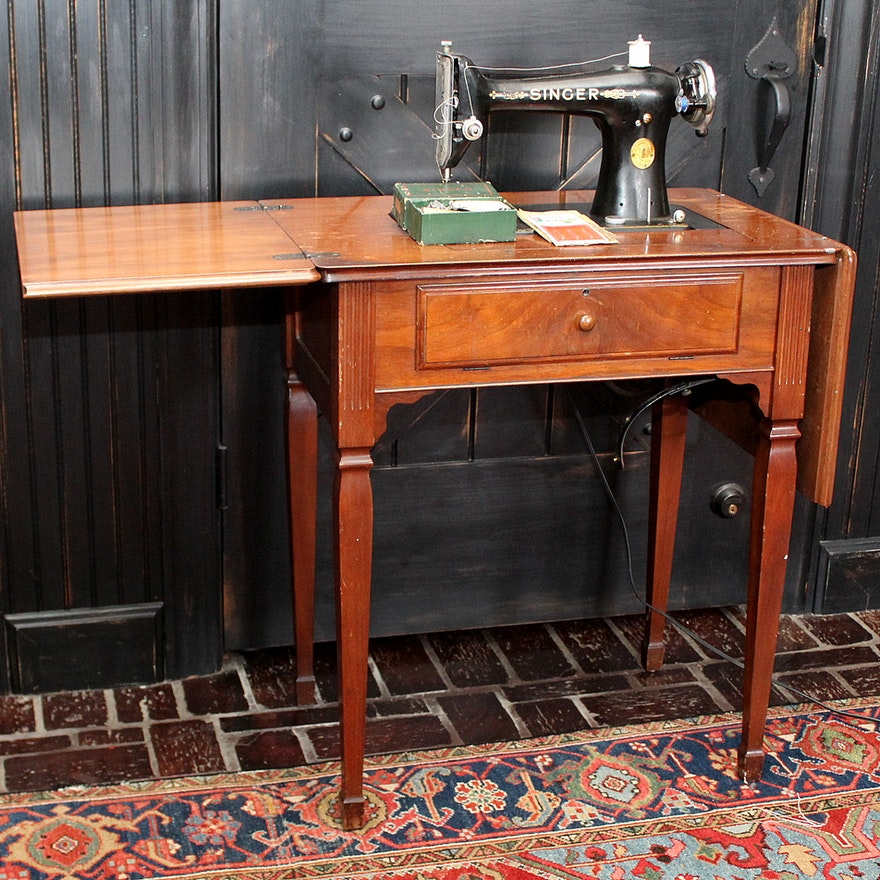 Vintage Electric Singer Sewing Machine And Cabinet EBTH Gorgeous Antique Electric Singer Sewing Machine In Cabinet