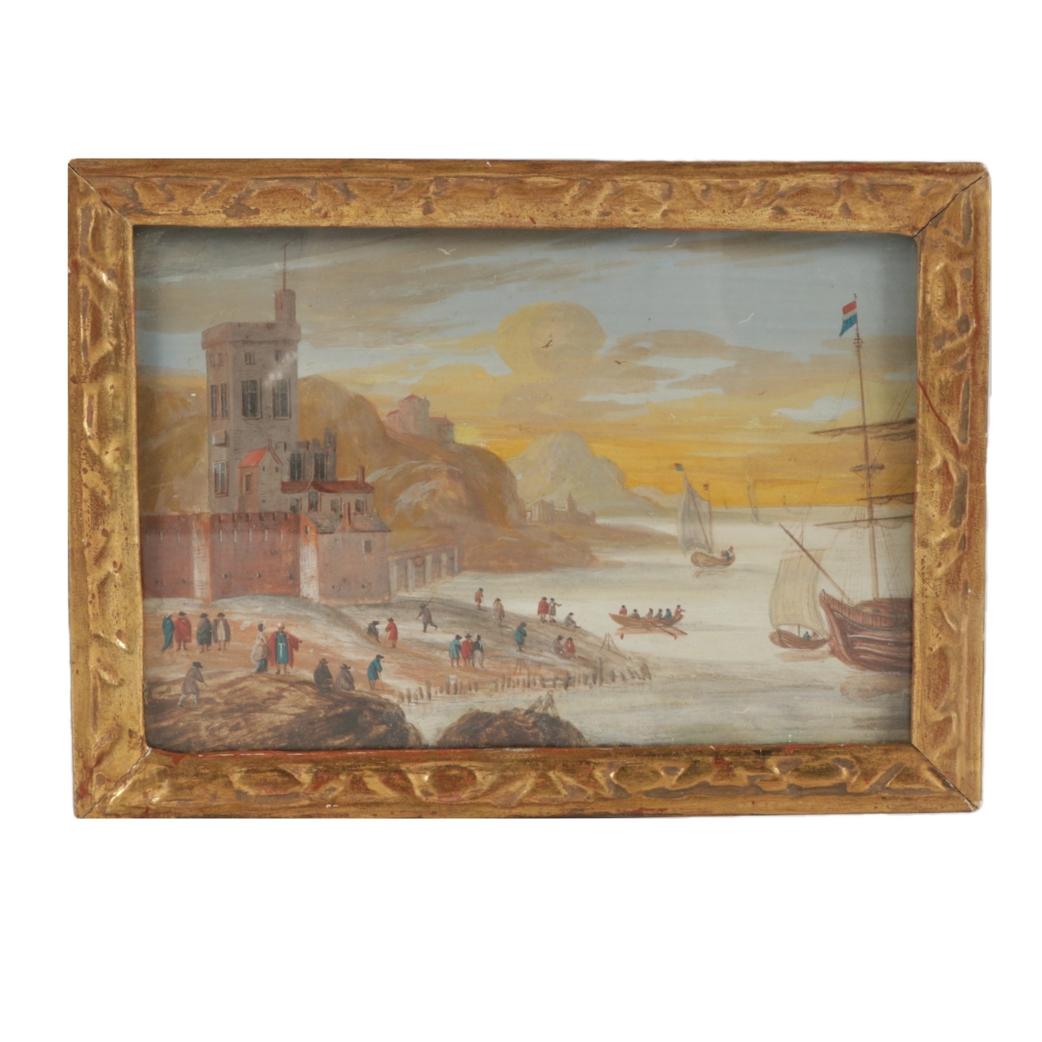 17/18th Century Original Gouache Harbor Painting in Gold Fame
